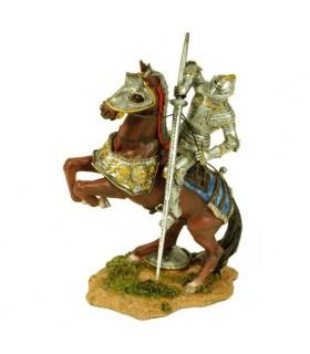 Figura cavaliere medievale dipinta