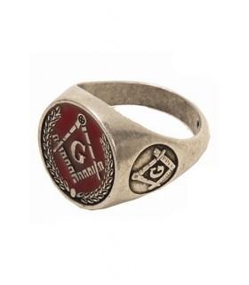 smalto rosso anello massonico