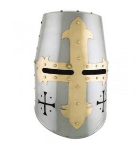 casco templare con croce frontali e laterali