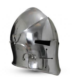 Barbuta medievale con visiera