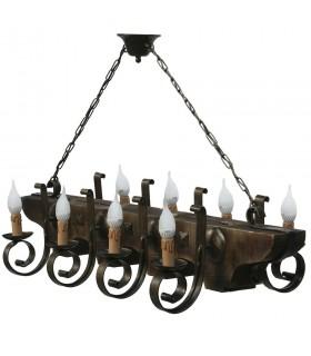 ferro battuto e lampada di Wood 8 braccio