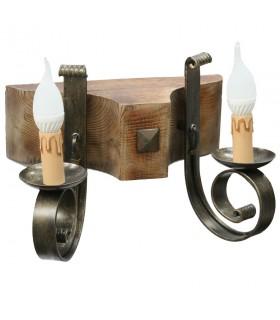 Applicare legno e ferro battuto, 2 lampadine