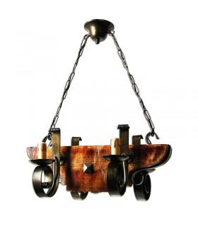in ferro battuto e legno della lampada 4 bracci