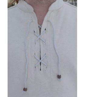Camisa medieval negra con lazos