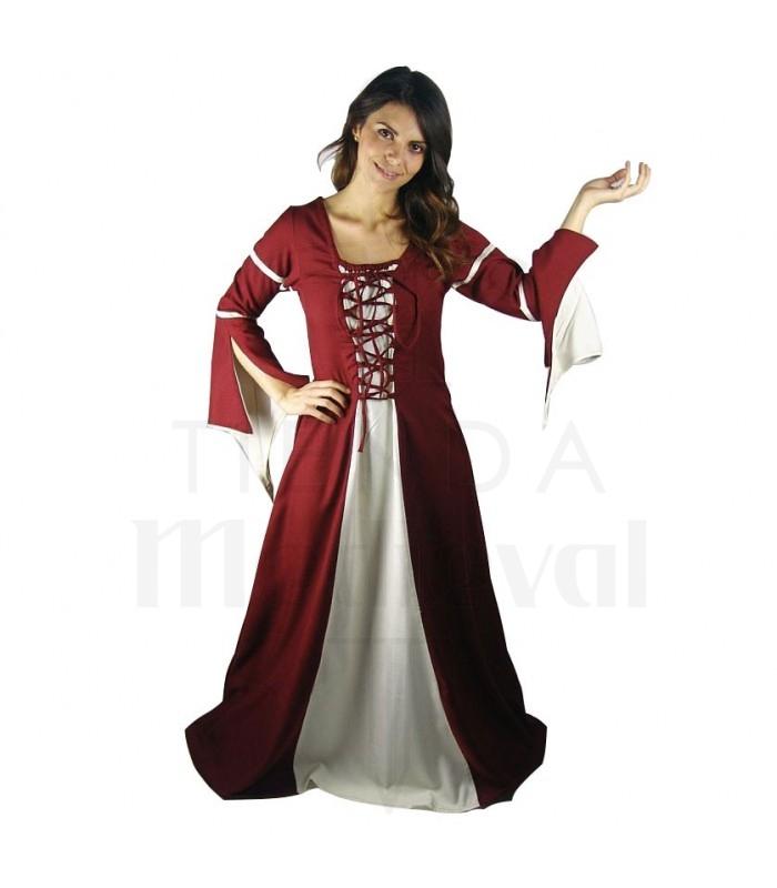Donna in abito medievale Red-Cream. Costumi medievali - Abiti donna 4a0158d8816
