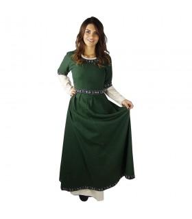 Donna in abito medievale Verde-Bianco
