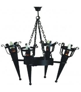 Lampada forge 4 torce (86x80 cms.)