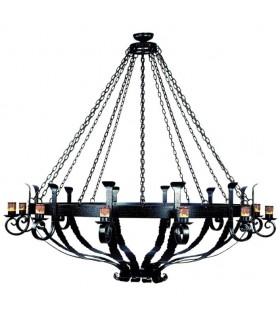Lampada forge ruota di legno, 6 luci