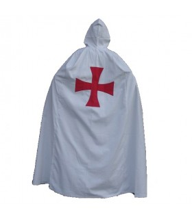 Capa templaria blanca con cruz roja