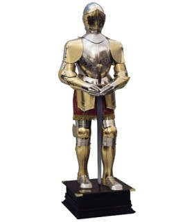 argento e oro con inciso armatura naturale, vestito marrone e la spada nelle sue mani