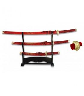 Katana, Wakizashi e Tanto rosso con basamento laccato nero