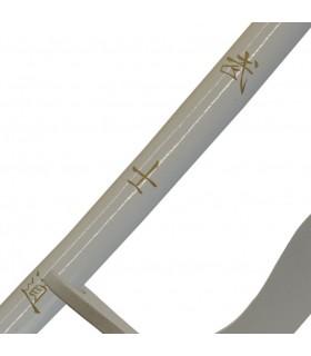 Wakizashi blanco con soporte, 77 cms.