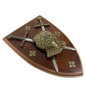 Panoplia coraza con espadas
