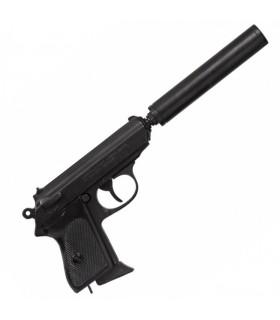 Pistola semiautomática con silenciador