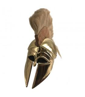 elmo corinzio greco con oro pennacchio