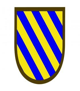 Estandarte medieval rayas azules-amarillas