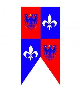 Bandiera medievale aquile con fleur de lis