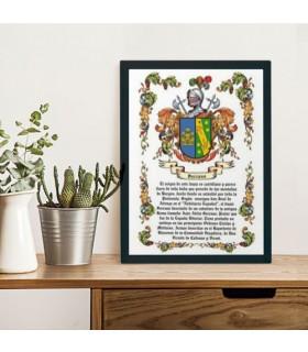 Casella di stemma araldico 1 cognome (32,5x42,5 cm.)