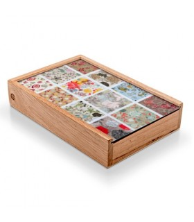 Caja juegos medievales: cartas, yo-yo, dominó, pick-up sticks, canicas, jacks