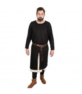 Tunica Medievale Everard nero manica lunga