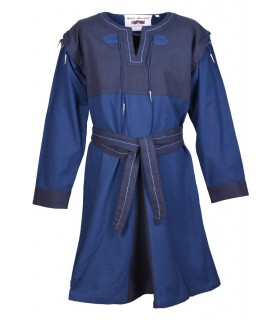 Tunica Medievale Blu-Blu scuro, con maniche staccabili