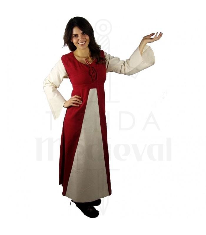 sale retailer c7037 dcd02 Abito medievale in cotone-rosso-crema
