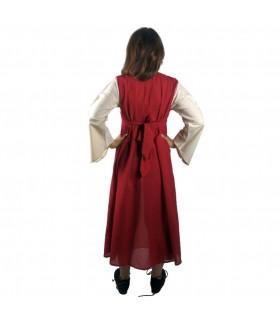 Abito medievale in cotone-rosso-crema