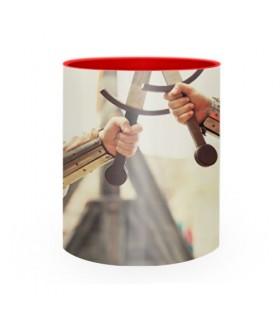 Tazza di ceramica di Combattimento Medievale