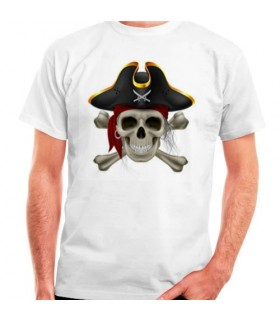 T-shirt bianca Pirata manica corta