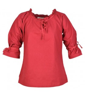 Blusa medievale donne Birga, rosso