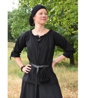 Blusa medievale donne Birga, nero