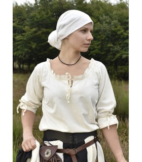Blusa medievale donne Birga, bianco