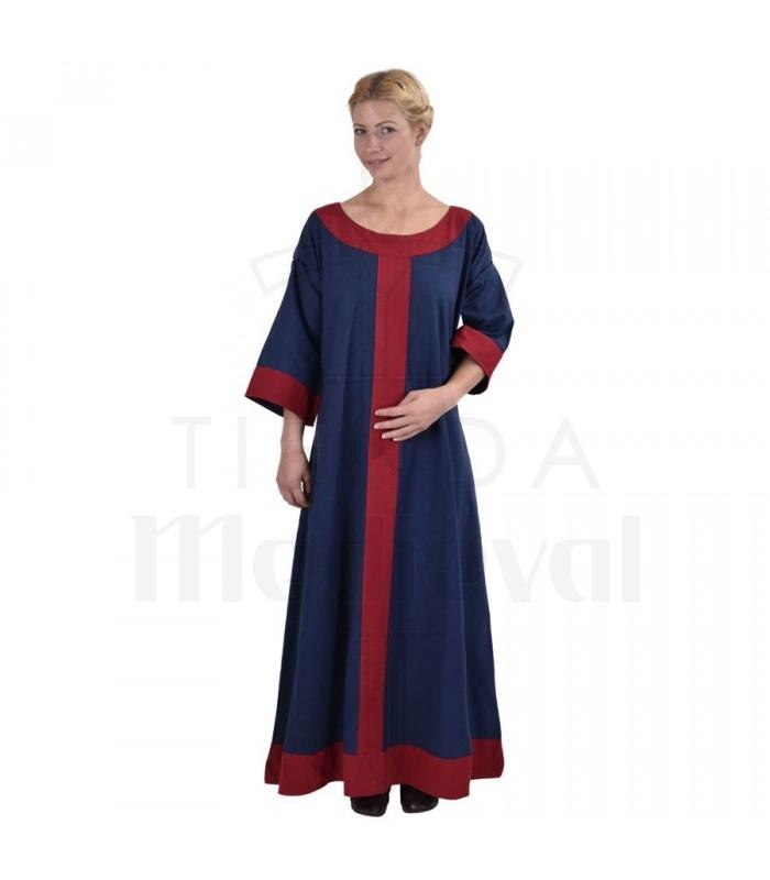 new style f1a3e d0caa Abito medievale Gudrun, blu-rosso