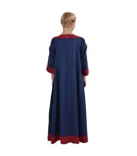 Abito medievale Gudrun, blu-rosso
