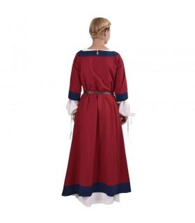 Abito medievale Gudrun, rosso-blu