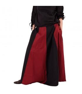 Gonna medievale lungo rosso-nero