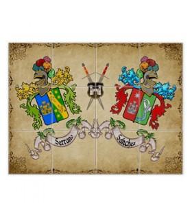 Tessere di mosaico di Scudi 2 cognomi (con sfondo)