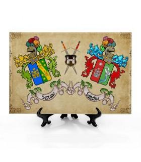 Piastrelle Stemmi con 2 nomi, con background (30x20 cm.)