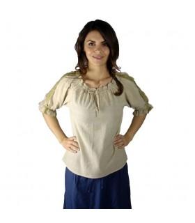Blusa medievale legami, 2 colori (marrone-crema)