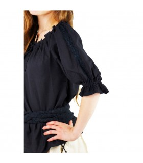 Blusa medievale legami, 2 colori (rosso-nero)