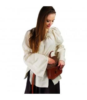 Blusa medievale, classica, crema
