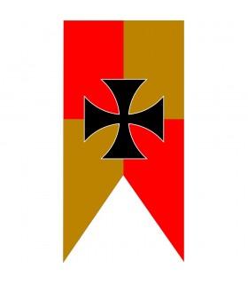 Banner Medievale Squartato Giallo-Rossa Croce Templare