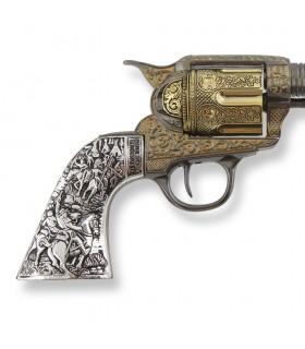 Revolver Colt 45 Pacificatore breve con il manico in metallo, 27 cm.