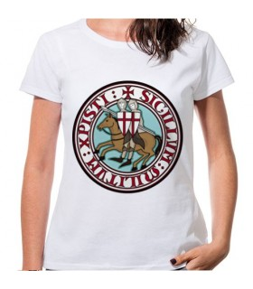 T-shirt Donna Bianca Cavalieri Templari, manica corta