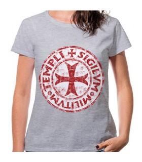 T-shirt Donna Grigio Croce Templare, manica corta