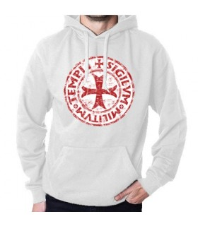 Felpa Bianca Cavalieri Templari con Cappuccio