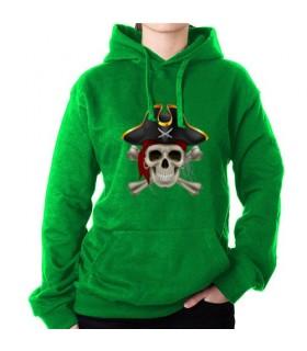Felpa Pirata Verde, con Cappuccio