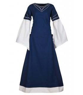 Abito medievale Alvina, blu-bianco