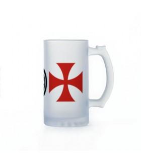 Boccale di birra Cavalieri Templari, cristallo traslucido