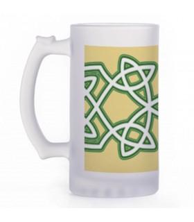 Boccale di birra Nodi Celtici, vetro traslucido